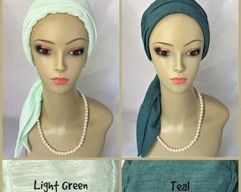 Gauze Scarf Turban Light Green, Teal Volumizer Chemo Headwear Cancer Patient Hat, Hair Cover, Tichel & Mitpachat Head Wrap, Beach Snood