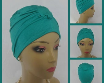 Front Knotted Jersey Turban Deep Teal Chemo Sleep Headwear, Cancer Patient Hat, Hair Covering, Tichel Mitpachat Head Wrap, Yoga Turban