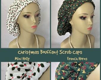Christmas Surgical Bouffant  Scrub Caps;  - Chemo Headwear, Pediatrics RN Surgical Hat, Chemo Headwear, Nurse Grad Gift, Alopecia Cap