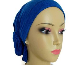 Snood Turban Dark Cerulean Blue Volumizer Chemo Headwear, Cancer Patient Hat ,Alopecia Hair Covering, Tichel Mitpachat ,Beach Cap Med- Large