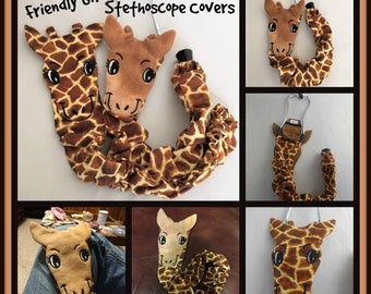 "Giraffe Stethoscope Cover, RN Graduation Gift, , CNA Gift, School Home Nurse, Veterinarian Animal Stethoscope Cover 20"" Machine Washable"