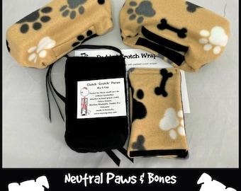 Neutral Paws & Bones Fleece Crutch Pads, Padded Animal Crutch Wrap,Crutch Tote,Toe Bootie Cast Sock,Washable Crutch Pads, Stops Arm Pit Pain