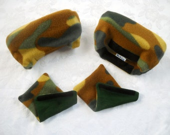 Padded Crutch Wraps Set | Camouflage Fleece Crutch Pads | Crutch Tote | Toe Bootie Cast Sock | Washable Crutch Pads | Stops Arm Pit Pain!