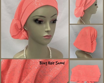 Silver Bling Coral Mist Hair Snood Turban, Volumizer Chemo Headwear, Cancer Patient Hat, Alopecia Hair Cover, Tichel Head Wrap, Large