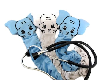 """Jersey Stethoscope Cover, Gray Or Baby Blue Elephant, Rn CNA Graduation, Veterinarian Animal Stethoscope Cover, Machine Washable, Length 20"""""""