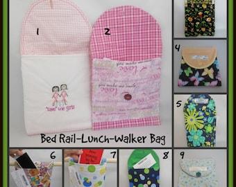 Hospital Bed Rail Caddy, Car Trash Bag,Reusable Plastic Lined Lunch Bag,Walker side Tote Bag, Chair Caddy, Nursing Home Gift,TV Remote Caddy