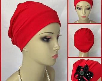 Organic Red Cotton Turban 3-Seam Hair Cover, Cancer Patient Hat, Alopecia, Tichel Mitpachat Head Wrap, Volumizer Chemo Headwear