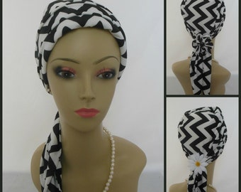 Chevron Jersey Scarf Turban Black White design, Chemo Headwear,  Cancer Patient Hat Gift, Alopecia Head Cover, Titchel Mitpachat Hair Wrap
