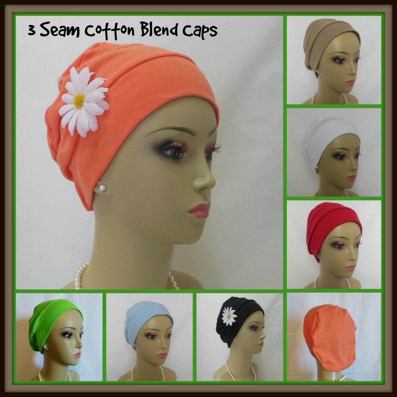Solid 3-seam Cotton Blend Knit Turbans Volumizing Chemo | Etsy