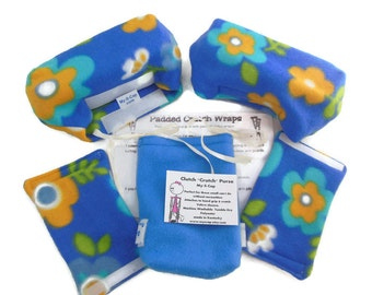 Padded Crutch Covers | Flowers On Blue Fleece Crutch Pads | | Crutch Tote | Toe Bootie Cast Sock | Washable Crutch Pads | Stops Arm Pit Pain