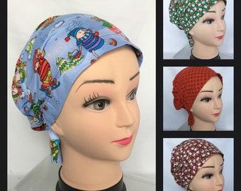 "Child Christmas Snood Caps :Pediatrics RN Surgical Hat, Child Chemo Headwear, Nurse Gift, Alopecia Cap, OR Cap, Cancer Cap Fit21-23"" Head"