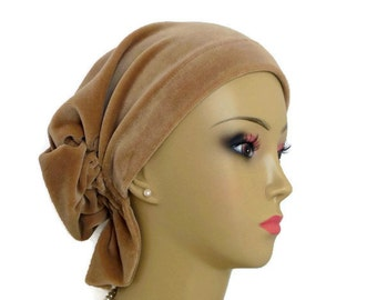Stretch Velour Hair Snood Turban, Tumbleweed Camel, Winter Chemo Headwear, Cancer Patent hat, Alopecia Head Cover, Tichel Mitpachat, Med- Lg