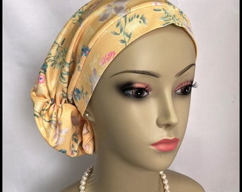 Timeless Garden on Yellow Hair Snood Volumizer Chemo Headwear, Cancer Patient Hat ,Alopecia Hair Covering, Tichel Mitpachat, Med- Large