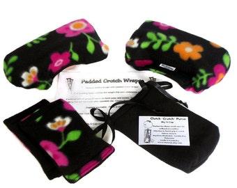 "Fleece Padded Crutch Wraps Hand Grip Set - Bold Flowers On Black |2"" Bounce Back Padding Crutch Cover | Crutch Tote Bag | Toe Warmer Bootie"