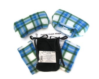 """Plaid Fleece Padded Crutch Wraps & Hand Grip Set 