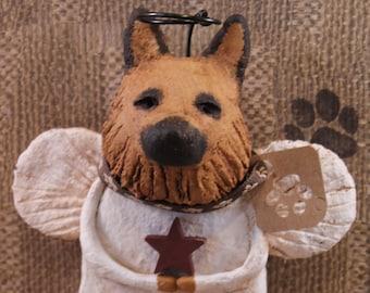 German Shepherd Angel, OOAK, handmade from paper mache, German Shepherd Angel Statue, Shepherd Angel Figurine