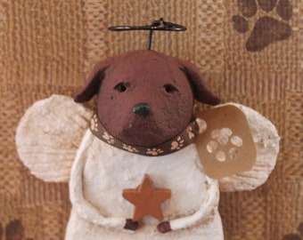 Chocolate Lab Angel Ornament, hand-sculpted from papier mache, CHOCOLATE LAB, Lab Angels, Pet Lover Gifts, Lab Lover Gifts
