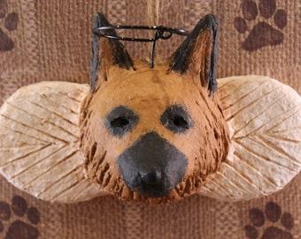 German Shepherd Angel Ornament, OOAK, handmade from paper mache, German Shepherd Angel