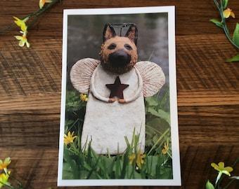 German Shepherd  Angel Greeting Card,, German Shepherd  Lover Card, Pet Lover Greeting. Card, Dog Angel Card, Papier Angels