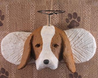 Basset Hound Angel, hand-sculpted from papier mache, BASSET HOUND, Hound Angel, Pet Lover Gifts, Basset Hound Ornament, Basset Lover Gifts
