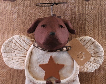 Chocolate Lab Angel, handmade from papier mache, Lab Angel Figurine, Folk Art Lab Angel, Lab Angel Sculpture, Pet Lover Gifts, Papier Angels