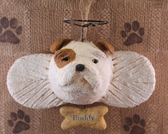 English Bulldog Angel Ornament, Handmade from Papier Mache, Personalized Bulldog Ornament, Bulldog Lover Gifts, Pet Lover Gifts