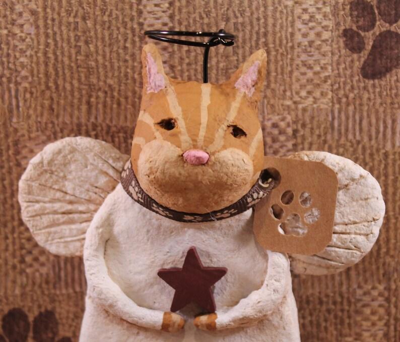 Primitive Tiger Cat Angel Orange Tiger Cat Angel Figurine Folk Art Cat Angel Handmade Papier Mache Orange Tiger Cat Angel