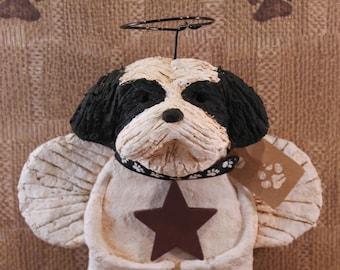 Shih Tzu Angel, handmade from papier mache, Shih Tzu Angel Figurine, Shih Tzu Lover Gifts, Pet Lover Gifts, Folk Art Shih Tzu