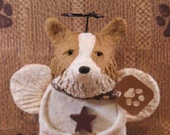 Corgi Angel,handmade from paper mache, Corgi Angel Figurine, Corgi Lover Gifts, Dog Angel Gifts, Pet lover Gifts, Queen's Hound Angel