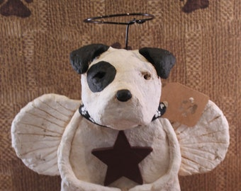 American Bulldog Angel, handmade Papier Mache, Bulldog Angel Figurine, Bullie Angel, Pet Lover Gifts, Pet Loss Gifts, American Bullie
