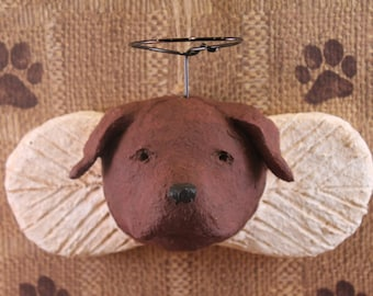 Chocolate Lab Angel Ornament, hand-sculpted from papier mache, CHOCOLATE LAB, Lab Angels, Pet Lover Gifts, Papier Angels