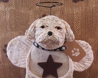 Maltese Angel, Handmade from Papier Mache, Maltese Angel Figurine, Gifts For Maltese Lover, Pet Lover Gifts, Maltese Angel