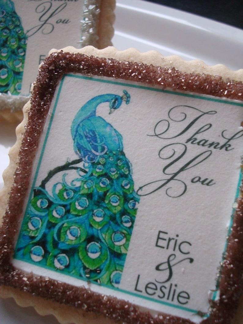 Peacock Personalized Wedding Favor Shower Cookie Favors--1 Dozen cookies