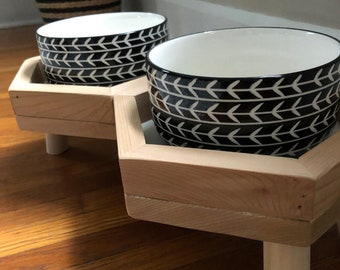 Hexagon Elevated Dog Feeder/Feeding Stand