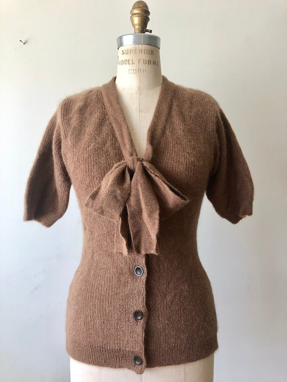 Vintage cocoa brown 50s inspired mohair secretary