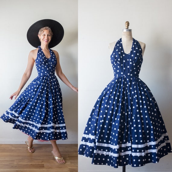 Vintage Foxy lady 1950s inspired blue and white po