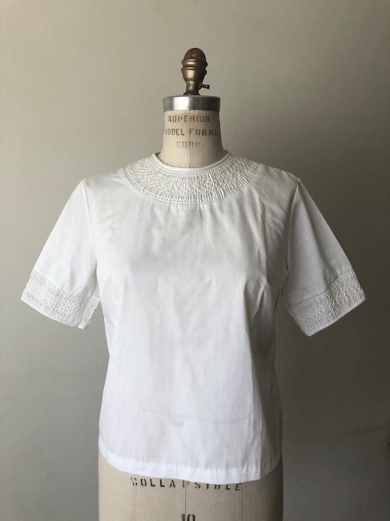 Vintage 1950s white cotton blouse