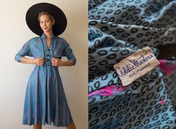Vintage 1940s 1950s Addie Master silk novelty prin