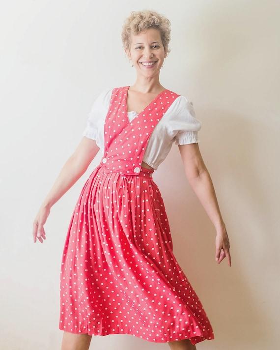 Vintage 1980s does 1940s pink polka dot pinafore a