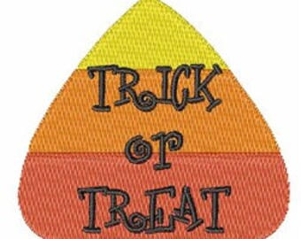 Halloween Candy Corn with Trick or Treat Embroidered Terry Bathroom  Hand Towel -- You Pick the Color---Free Shipping