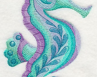 Seahorse Watercolor Embroidered Terry Bathroom Hand Towel -- You Pick the Color----Free Shipping