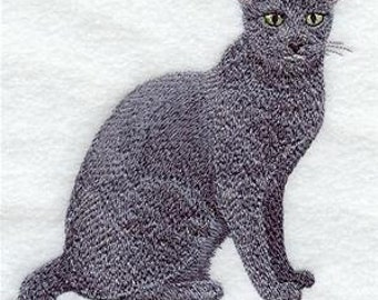 Russian Blue Cat Embroidered Bathroom  Hand Towel -- You Pick the Color -- Free Shipping