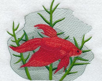 Siamese Fighting Fish Embroidered Terry Bathroom  Hand Towel -- You Pick the Color---Free Shipping