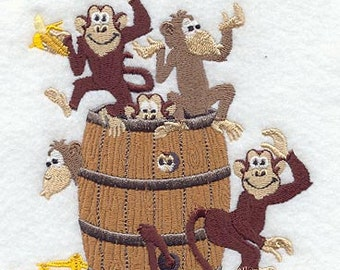 Barrel of Monkeys Embroidered Terry Bathroom  Hand Towel -- You Pick the Color -- Free Shipping