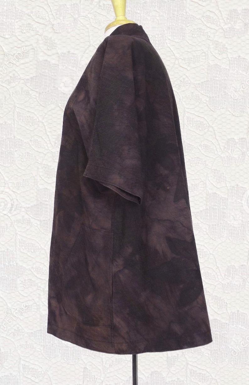Boho Style Embroidered Jacket Shibori Dyed Botanically Stamped Silk Wool Swing Jacket