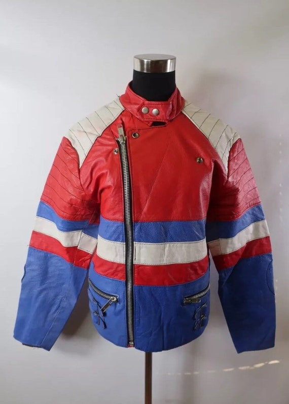 Cafe White Small 80s Jacket Mens Motorcycle European Blue Punk Rocker 1980s Xs Racer Biker Black Uk 36 British Red 70s Leather 34 Rare Lewis knwP80OX