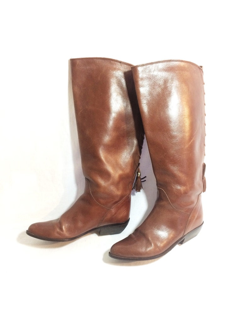 73874aa673d99 Vintage 80s size 6.5 brown leather riding boots BANDOLINO equestrian tall 6  italian womens 70s zodiac capezio tasselled pixie slouch