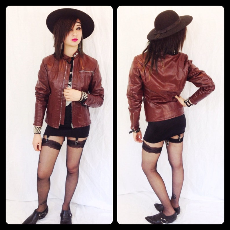 5e6d8fef7dd Vintage 70s womens small CAFE RACER MOTORCYCLE leather jacket