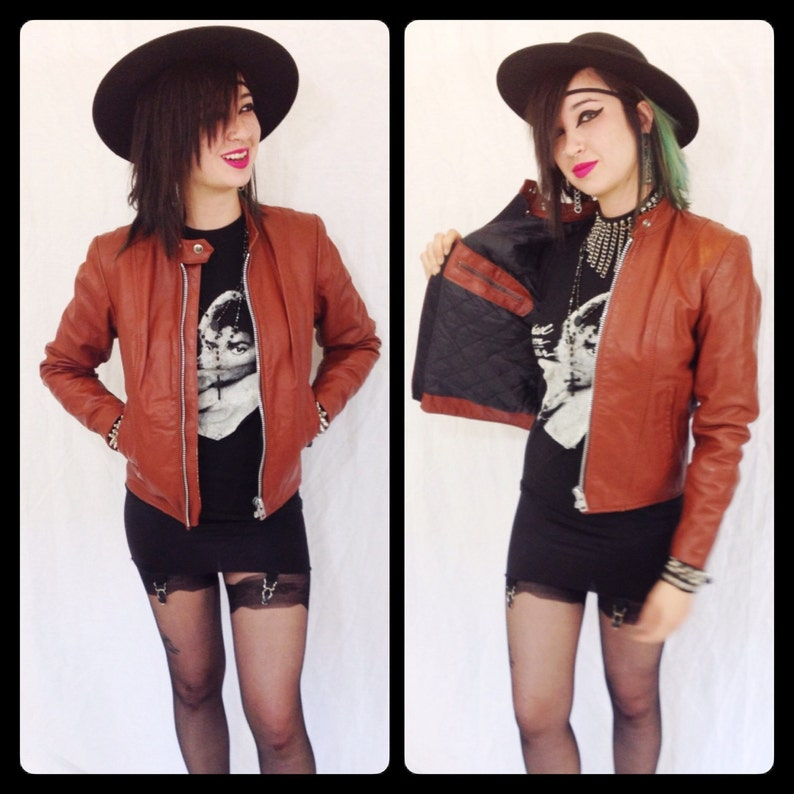 4e15f69e525 Vintage 70s womens small CAFE RACER motorcycle jacket brown