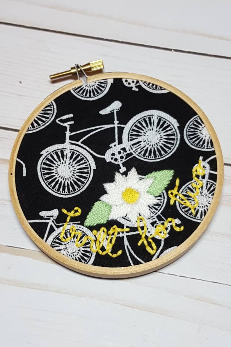 Bicycle Built For Two Embroidery Hoop Daisy hoop Bicycle image 0